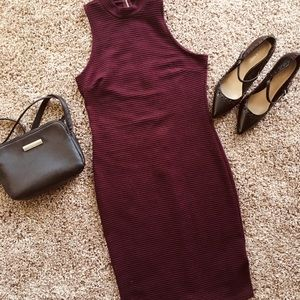 Charlotte Russe Ribbed Dress | Burgundy | Medium